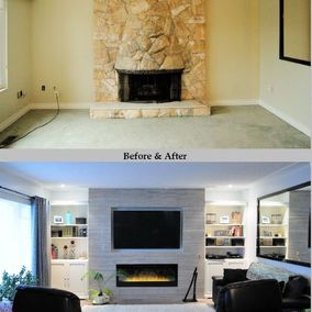 Before and after view of a living room