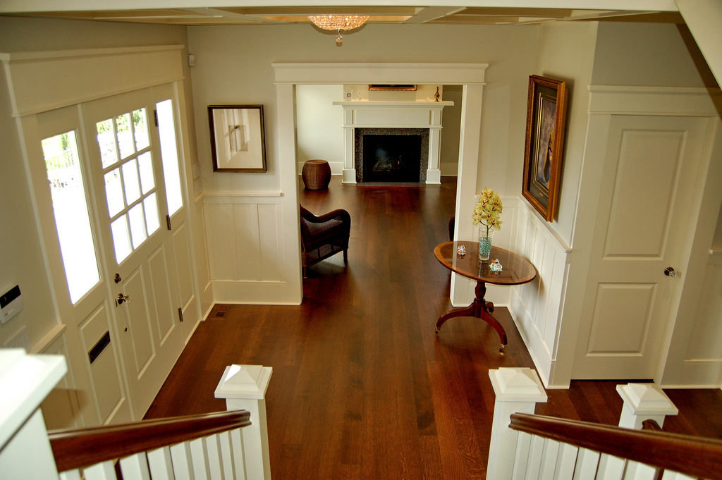 top view of a room with wooden flooring
