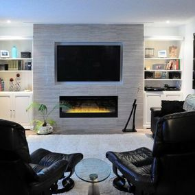Living room with electronic fireplace